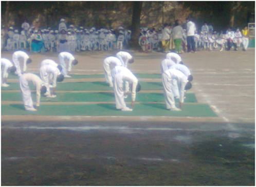 Yoga activity by junior class on Annual Sport Celebration on date 16/12/2012 at school campus